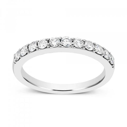 14K White Gold .33ct tw Round Cut Diamond Band