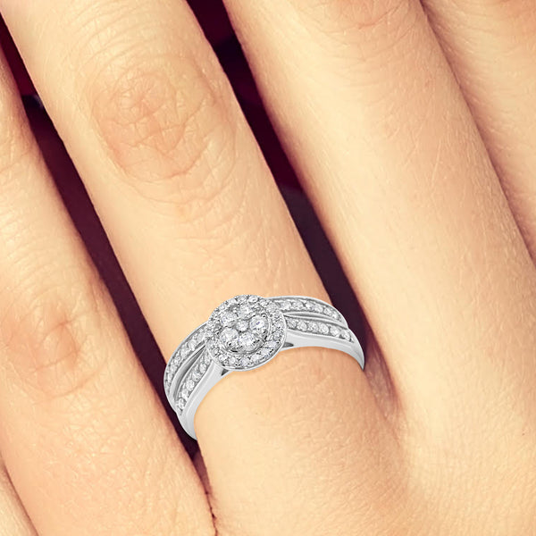 Diamond Halo Engagement Ring .50CT tw Round Cut 10K White Gold