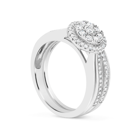Diamond Halo Engagement Ring .50 CTW Round Cut 10K White Gold
