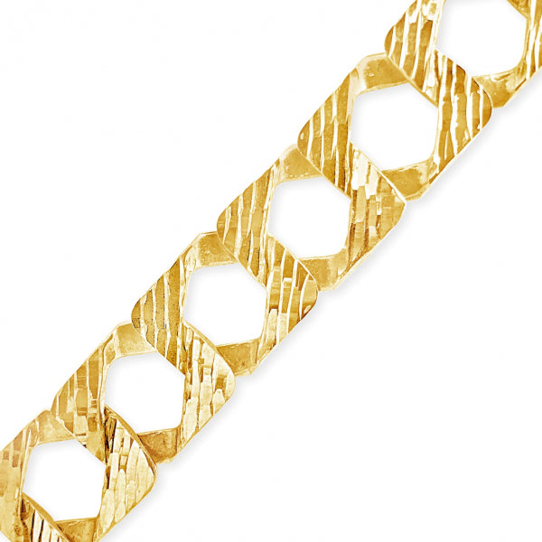10K Yellow Gold Reversable  Square Cuban Link Chain w/ Lazor Cuts
