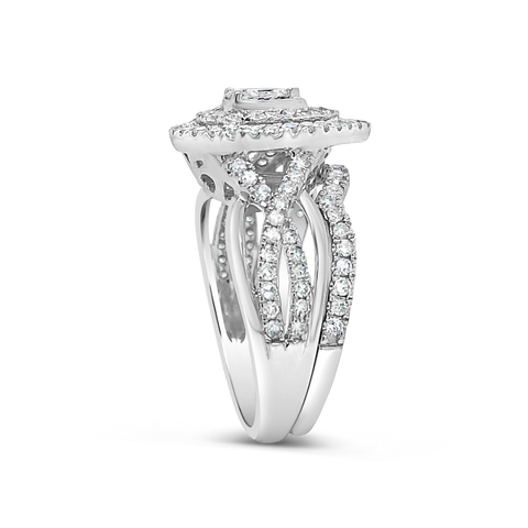 Diamond Halo Pear Shaped Engagement Ring .75 CTW Round Cut 14K White Gold