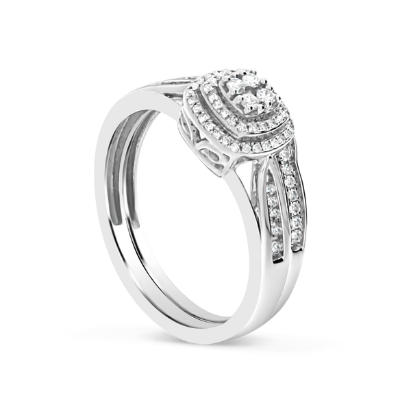 Diamond Halo Engagement Ring .30CT tw Round Cut 10K White Gold