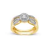 Diamond Halo Engagement Ring .25 CTW Round Cut 10K Yellow Gold