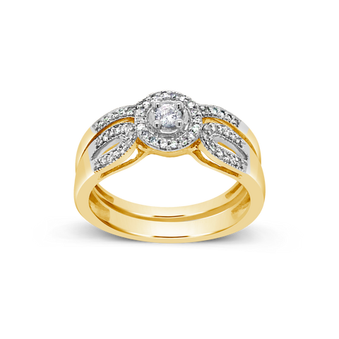 Diamond Halo Engagement Ring .25CT tw Round Cut 10K Yellow Gold