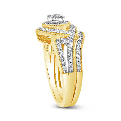 Diamond Halo Engagement Ring .50 CTW Round Cut 14K Yellow Gold
