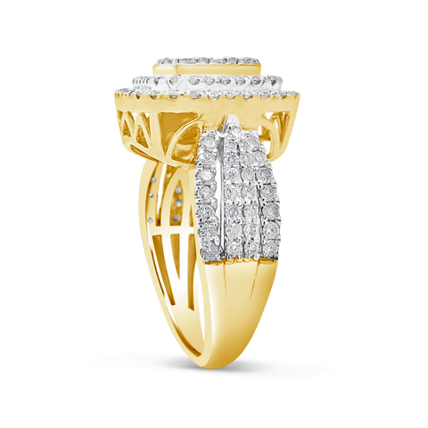 Diamond Halo Engagement Ring 1.50 CTW Round Cut 10K Yellow Gold
