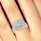 Diamond Halo Engagement Ring 1.50CT tw Round Cut 10K Yellow Gold