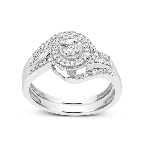 Diamond Halo Engagement Ring .35CT tw Round Cut 10K White Gold