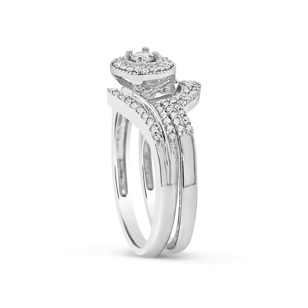 Diamond Halo Engagement Ring .35 CTW Round Cut 10K White Gold