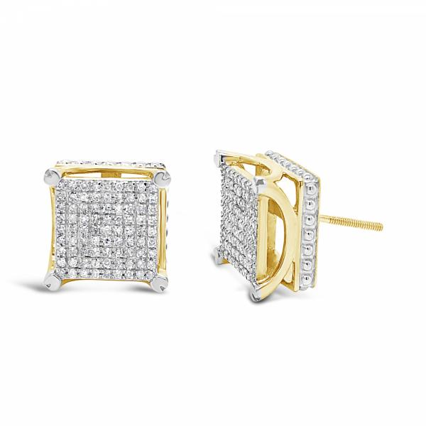 10K Yellow Gold .50ct Diamond 3D Square Earrings
