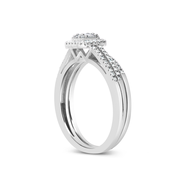 Diamond Halo Engagement Ring .33CT tw Baugette W/ Round Cut 14K White Gold