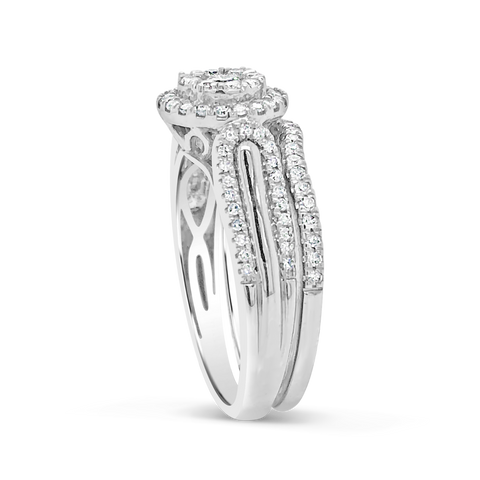 Diamond Halo Engagement Ring .65 CTW Round Cut 10K White Gold
