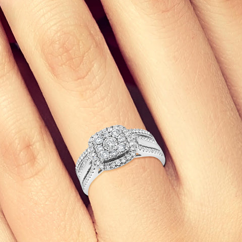 Diamond Halo Engagement Ring .80 CTW Round Cut 10K White Gold