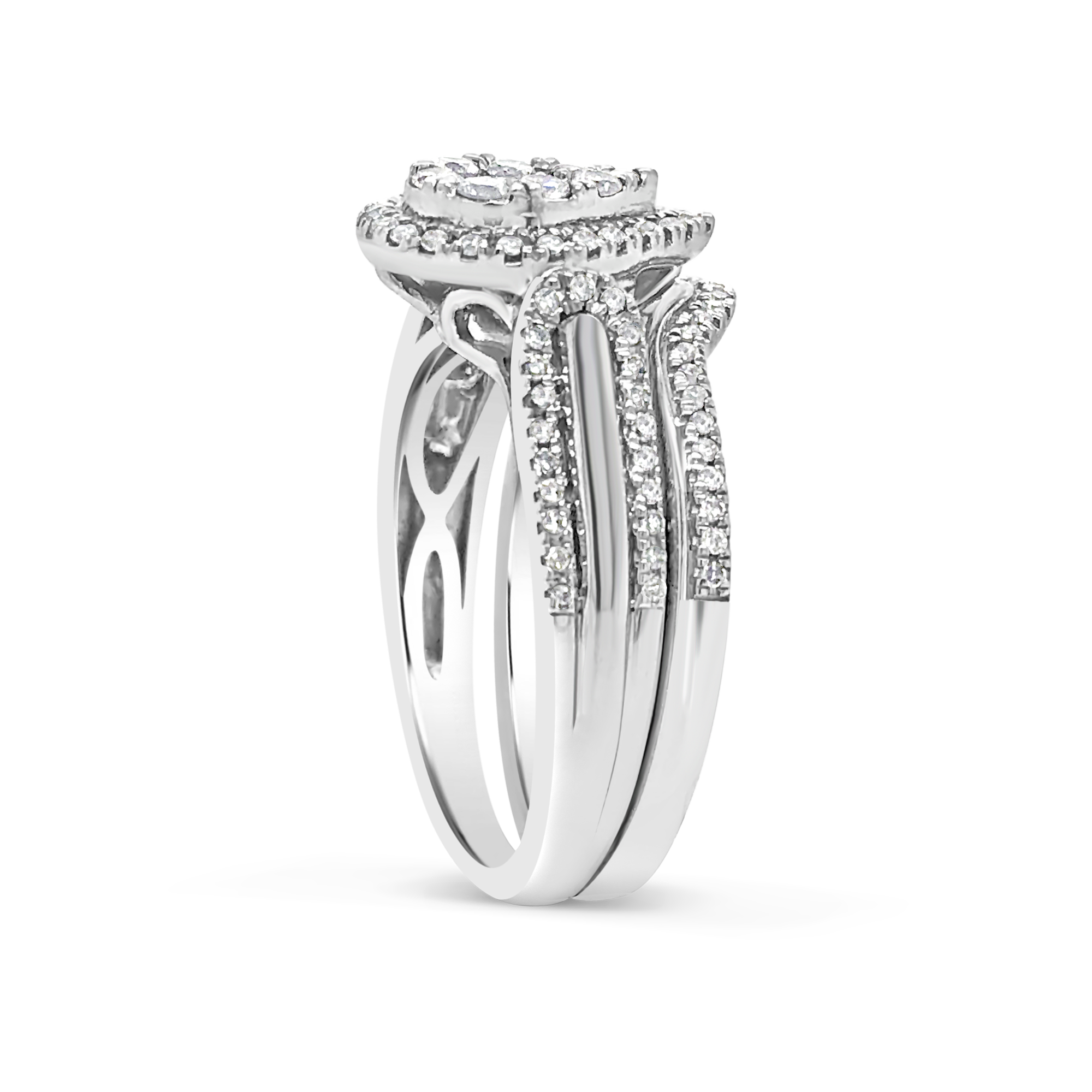 Pear Shapped Diamond Engagement Ring .60 CTW Round Cut 10K White Gold