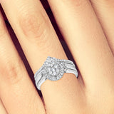 Pear Shapped Diamond Engagement Ring .60CT tw Round Cut 10K White Gold