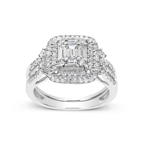 Diamond Halo Engagement Ring .90 CTW 14K Baugettes w/ Round CutWhite Gold