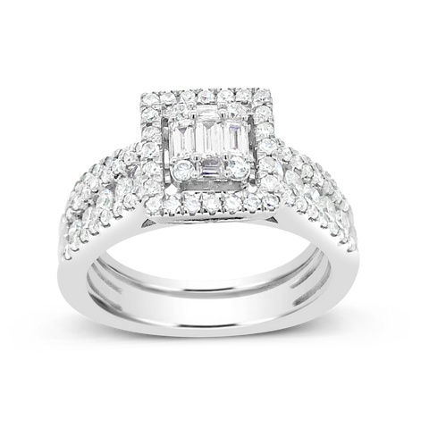 Diamond Halo Engagement Ring 1.15 CTW Bagguettes w/ Round Cut 14K White Gold