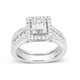 Diamond Halo Engagement Ring 1.15CT tw Bagguettes w/ Round Cut 14K White Gold