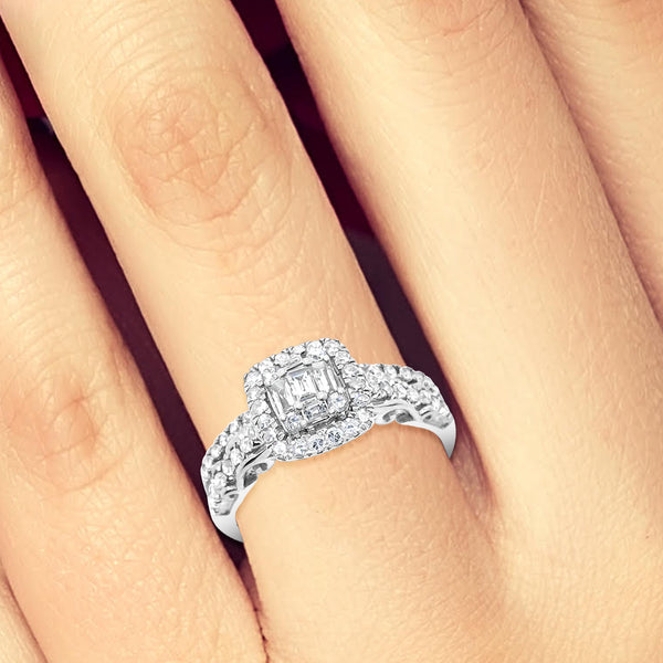 Diamond Halo Engagement Ring .75CT tw Baguettes w/ Round Cut 14K White Gold