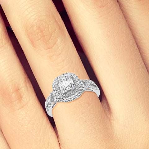 infinity Diamond Halo Engagement Ring .50 CTW Baguette w/ Round Cut 14K White Gold