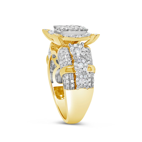 Diamond Halo Engagement Ring 1.50CT tw Round Cut 14K Yellow Gold
