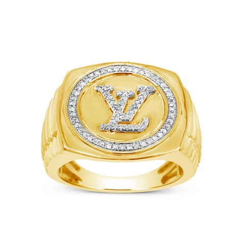 Diamond Designer LV Ring .25 CTW Round Cut 10K Yellow Gold