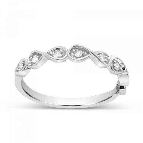 Diamond band .11CT tw Round Cut 10K White Gold