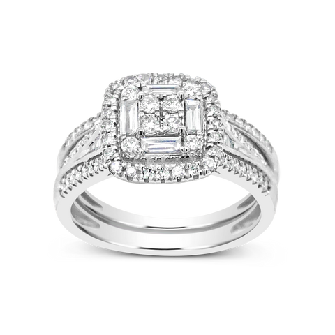 Diamond Halo Engagement Ring .65 CTW Round w/Baguette 14K white Gold
