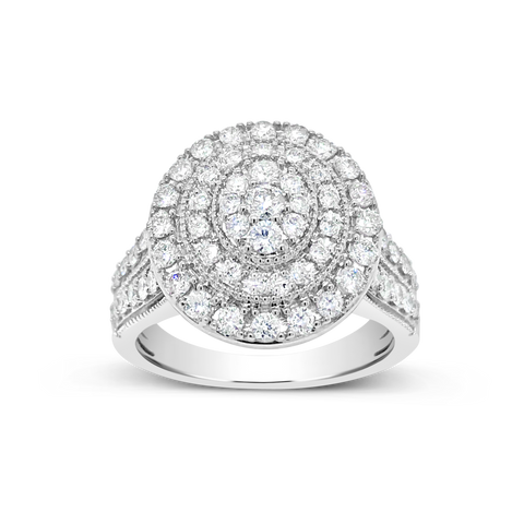 Diamond Halo Ring 1 CTW Round Cut 14K White Gold