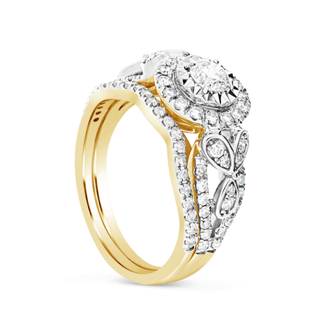 Diamond Halo Engagement Ring 1 CTW Round Cut 14K Yellow Gold