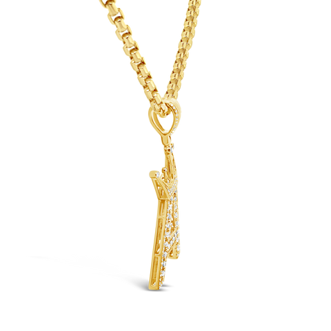 Custom Diamond Letter Pendant 1 CTW Round Cut 10K Yellow Gold