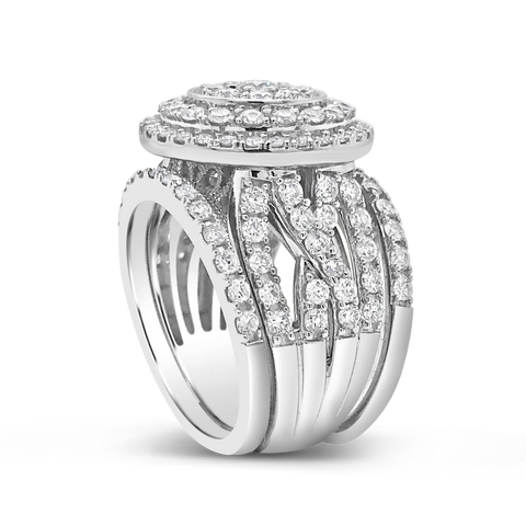 Diamond Halo Engagement Ring 2.50 CTW Round Cut 14K White Gold