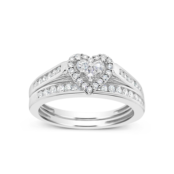 Diamond Halo Engagement Ring .50 CT tw Round Cut 14K White Gold