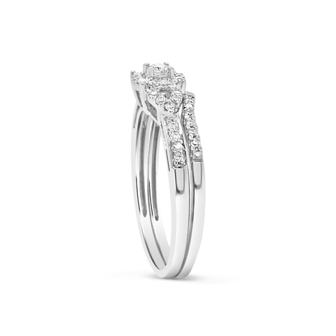 Diamond Halo Engagement Ring .32 CTW Round Cut 10K White Gold