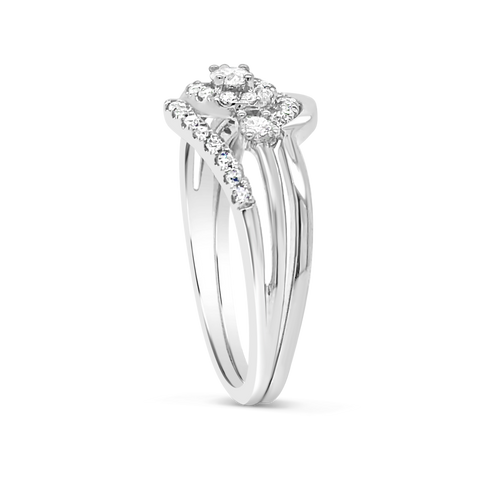 Diamond Halo Engagement Ring .33 CTW Round Cut 10K White Gold