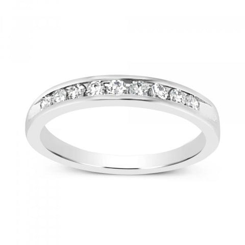 14K White Gold .27ct tw Round Cut Diamond Band