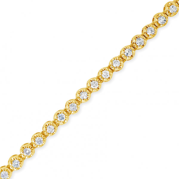 10K Solid Yellow Gold 3.60CT tw Round Cut Diamond Tennis Necklace