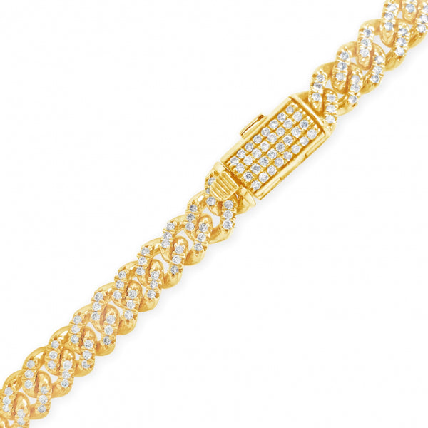 10K Solid Yellow Gold 8.87 CTW Round Cut Diamond Cuban Link Chain
