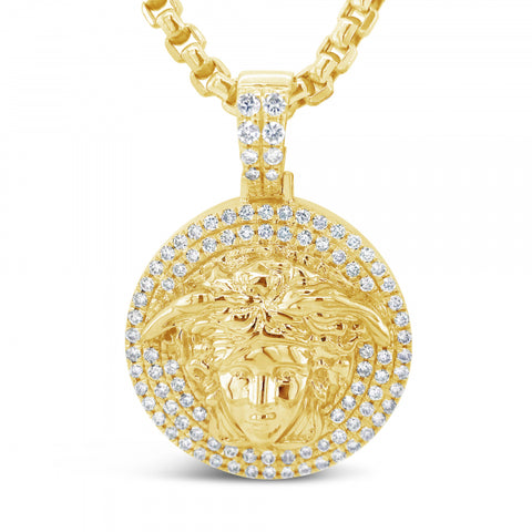 10K Yellow Gold 1.40ct Diamond Medusa Pendant