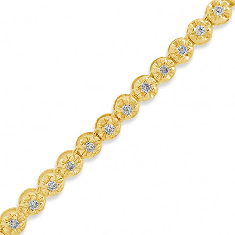 "10K Yellow Gold 3.5mm 1.63ct Diamond Rolo Tennis 22"" Chain"