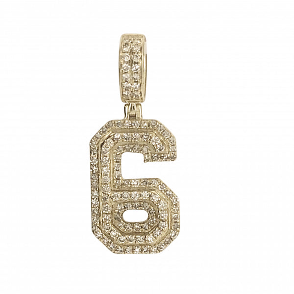 ".71ct Diamond ""6"" charm"