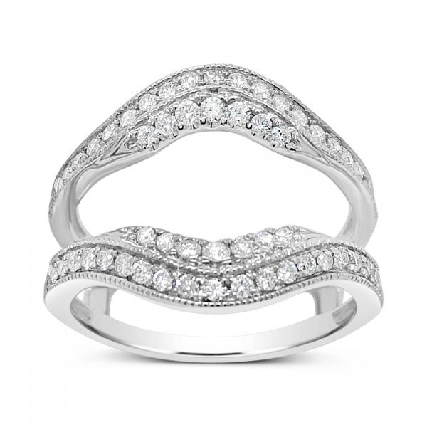 Diamond Ring Jacket .50 CTW Round Cut 14K White Gold
