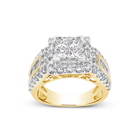 Diamond Halo Ring 2.17 CTW Princess Cut w/ Round Cut 14K Yellow Gold