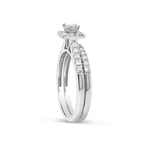 Diamond Halo Engagement Ring .50 CTW Princess Cut w/Round Cut 14K White Gold