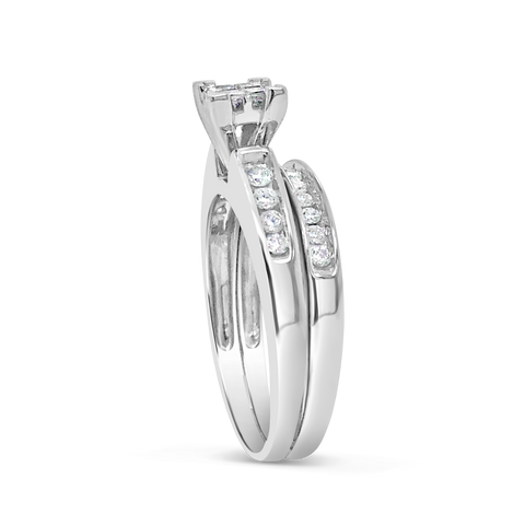 Diamond Engagement Ring .50 CTW Princess & Round Cut 10K White Gold