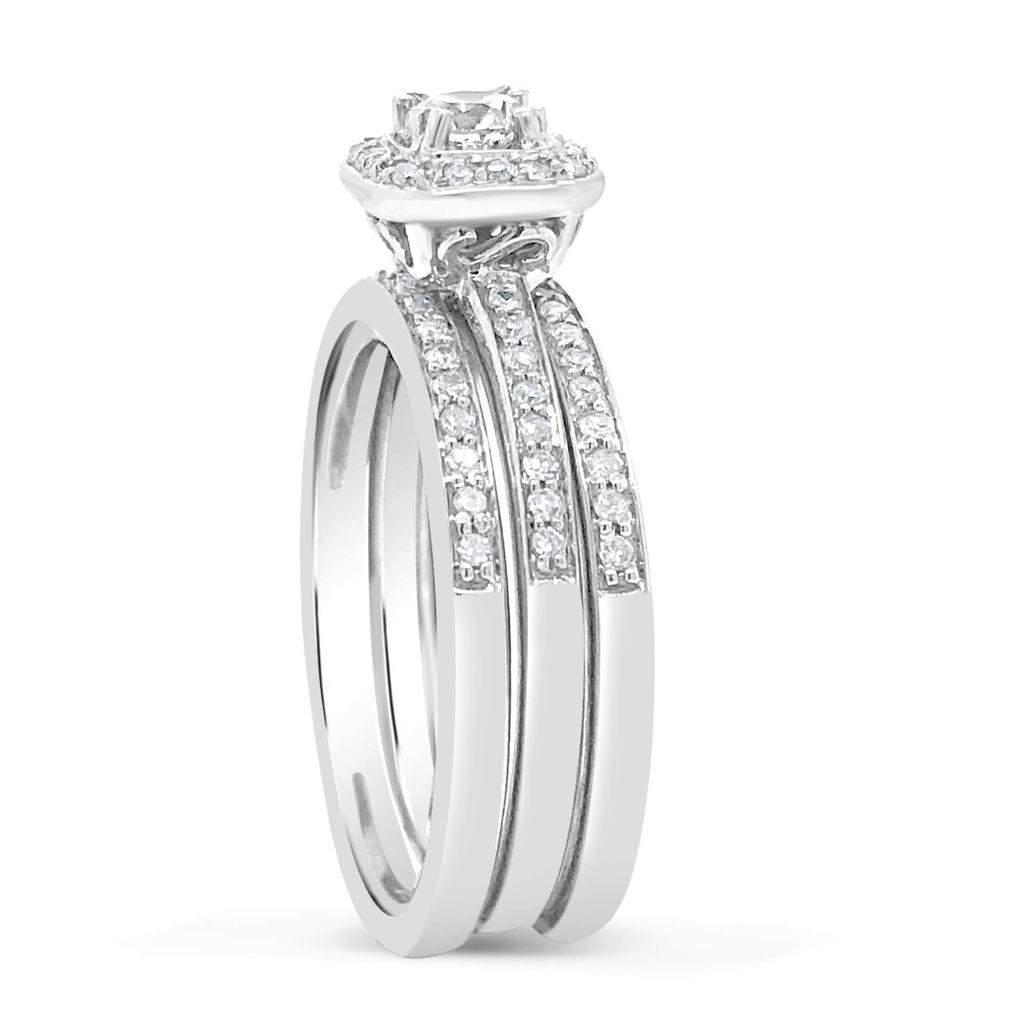 3 Band Diamond Halo Engagement Ring .62 CTW Round Cut 14K White Gold