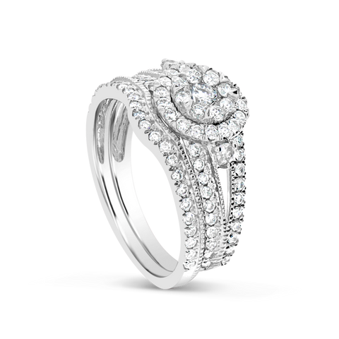 Diamond Halo Engagement Ring 1.06 CTW Round Cut 14K White Gold