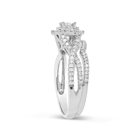 Diamond Halo Engagement Ring .75 CTW Princess & Round Cut 14K White Gold