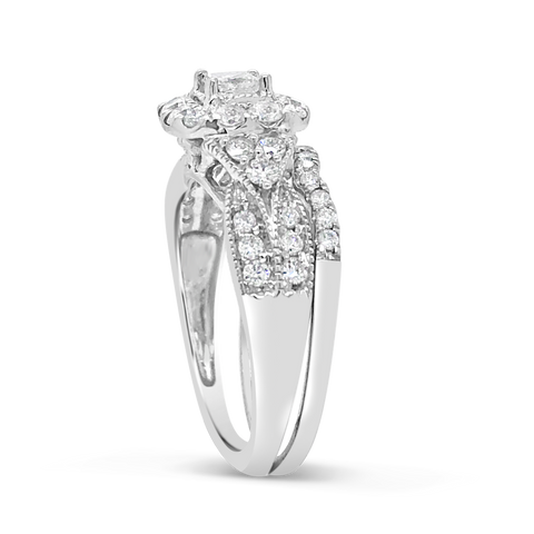 Diamond Halo Engagement Ring 1 CTW Princess Cut w/ Round Cut 14K White Gold