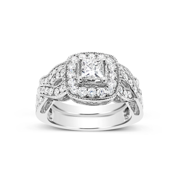 Diamond Halo Engagement Ring 1.52CT tw Princess w/ Round Cut 14K White Gold